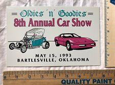 Vintage 1993 Oldies N Goodies Car Show Dash Plaque Sign Bartlesville Oklahoma