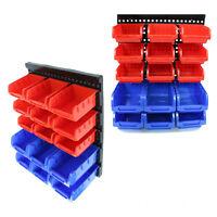 8 Size Small Part Plastic Bins Organizer Rack Wall Mounted Storage Garage Tools
