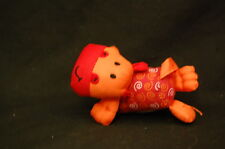 "Orange Infantino Baby Stroller Puppy Dog Rattle 3"" Plush  Stuffed Animal Lovey"