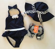 NWT Gymboree 3 3T Navy Skirted Rosette Swimsuit Zebra Hat & Sz 7/8 Sandals