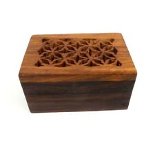 Small Wood Box Hinged Lid Carved Filigree Design Keepsake Jewelry Trinket Box A