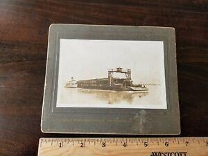 c. 1910 Avondale Louisiana Southern Pacific Railroad Train Barge Cabinet Photo