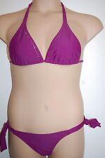 CIA Maritima Bikini Triangle Top Side Tie Bottoms Purple Size Medium UK 12