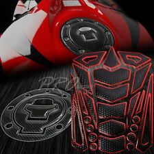 24PC Chromed Red Tank Pad+Fuel Cap Cover 97-03 GSXR-600/750/1000 GSX Carbon Look