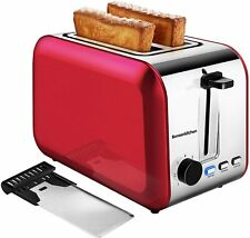 2 Slice Red Toasters,Stainless Steel Wide Slot Bread Toaster with Defrost/Reheat