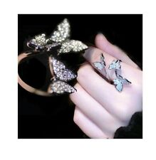 Cubic Zirconia Butterfly Resizable Ring Silver Plated Women Fashion