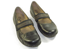 GR8!CLARKS active air GERALDINE Mary Janes Flats comfy size 8 M black leather$90