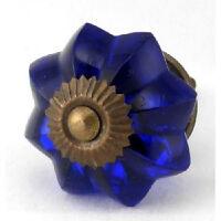 Blue Vintage Drawer Knobs, Cabinet Handle Pulls and Antique Brass Hardware #K65