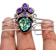16g Carved - Labradorite & Amethyst 925 Sterling Silver Bangle Jewelry BA2183