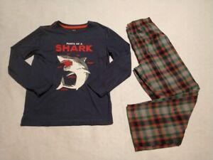 NWT Gap Kids Boys Shark Plaid Pajamas PJs 2PC Size 14