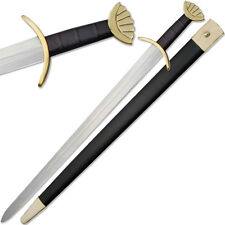 Ulfberht Lobed Viking Sword Brass Guard Handmade 1045 HC Steel Full Tang 37.5in