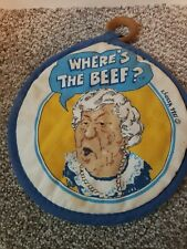 """Vintage 1984 Wendy's """"Where's The Beef"""" Pot Holder"""