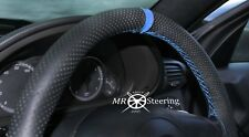 FOR RENAULT MASTER 97+ PERFORATED LEATHER STEERING WHEEL COVER +LIGHT BLUE STRAP