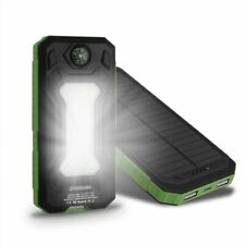 Mobile Solar Lamp Charger Dual USB Battery Power Bank Case Kit 5V With Compass