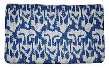 Indian handmade Ikat Print Single size Ralli kantha quilt Bedspread Blanket Rali