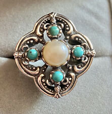 Turquoise & Pearl GSJ 925 Sterling silver Designer Statement Cocktail ring Sz 10