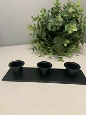 Amish Black Wrought Iron Triple Taper Candle Holder Stand Home Decor