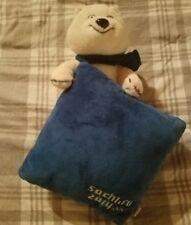 "Sochi 2014 Winter Olympic Games Souvenir Polar Bear Mascot Pillow 12"" Set"