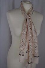 VINTAGE 1970s ivory polyester spotty scarf grey brown green spots skinny long