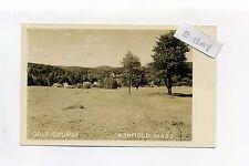 Ashfield MA Mass RPPC real photo Golf Course, buildings far distance, 1951