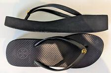 Tory Burch Women's Thandie Wedge Black thin strap Flip Flop Sandals size 7M