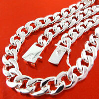 Necklace Chain Real 925 Sterling Silver S/F Solid Mens Heavy Curb Cuban Link 20""