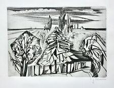 Carl-Heinz Kliemann (1924-2016) sign. Radierung Landschaft mit Tanne und Pappeln