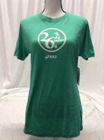 Asics 26.2 MILES TEE Women's Athletic Shirt, Green, Size XL