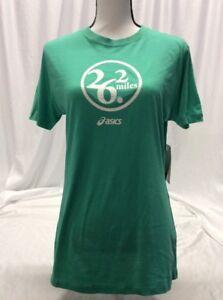 Asics 26.2 MILES TEE Women's Athletic Shirt, Green, Size L 100% Cotton