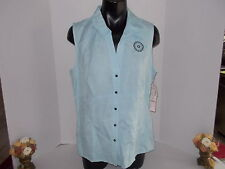 "DRESSBARN SHIRT 16 BUST 44"" LIGHT BLUE LINEN RAYON BEADED WASH SLEEVELESS NWT"