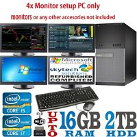 Fast Trading i5 i7 Quad 4 Monitor Tower Computer PC Dell/HP 16GB SSD 2TB Win10