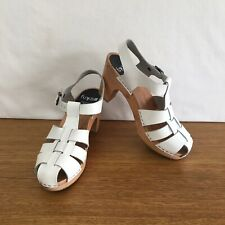 ☘️ Womens Funkis Swedish Forms Woven Leather Wood Clogs Heels White Size 39 8