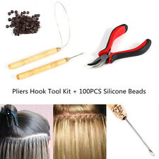 Brown 100 Silicone Beads+Micro Rings Loop Hair Extensions Pliers Hook Tool  LJ