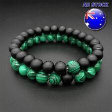 Wholesale Green Tone 8MM Black Frosted Stone And Malachite Couple Bracelet Set