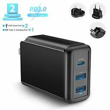 USB C Charger, Rocketek 60W 3-Port Power Delivery Charger with Type C PD Charger