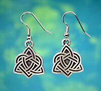 Celtic Triquetra Heart Earrings | Celtic Love Knot Earrings in Fine Pewter