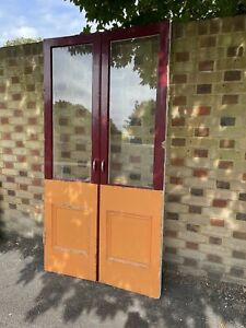 Reclaimed French Single Panel Glass Wooden Double Doors 2025 x 1070mm