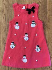 Bonnie Jean Girls Holiday Snowman Jumper Dress Hot Pink Corduroy Size 5