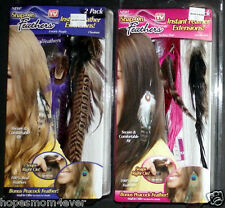 2 NEW Telebrands As Seen On TV Snap-On Feathers Hair PRICE FOR BOTH Pink/Purple