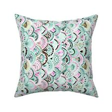 Boho Mermaid Medallion Mint Throw Pillow Cover w Optional Insert by Roostery