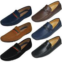 Mens Smart Casual Loafers Designer Slip on Party Driving PU Suede Boat Shoes
