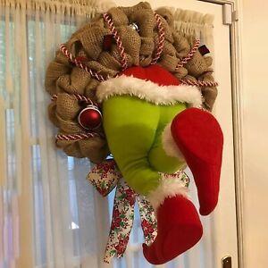 Xmas House Room Decoration Christmas thief Stole Christmas Burlap Wreath z