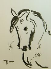 """Jose Trujillo Ink Wash on Paper 18x24"""" Expressionist Horse Painting Equestrian"""