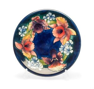 Moorcroft Orchid Pattern Vintage Art Pottery Plate with Cobalt Blue Ground