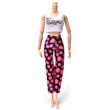 Prevalent Fashion Handmade White Vest Rose and Black Pant for Barbies F&;!