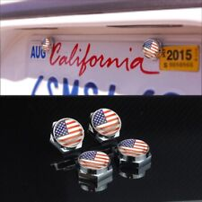 4 Sets USA American Flag Anti-Theft License Plate Frame Screw Cap For Jeep Chrys