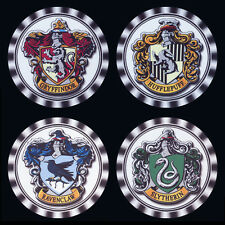 4  x  HARRY POTTER HOUSE LOGOS DRINK COASTERS, RE-USABLE, FULLY WASHABLE