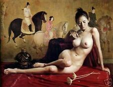 """Art Repro oil painting:""""nude/nudes oriental Chinese girl at canvas"""" 24x36 Inch"""