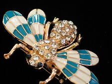 TEAL RHINESTONES MISQUOTE BUG INSECT WASP FLY FLYING BEE PIN BROOCH JEWELRY 2.25