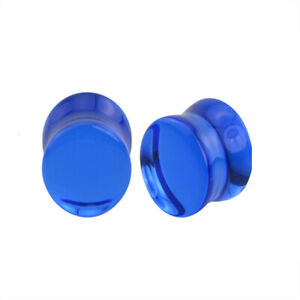 """Pair of Double Flare Glass Plugs Sizes 2GA-13/16"""" Clear Black Green Blue E565"""